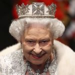 STRIKING QUEEN ELIZABETH II WITH A BLACK WAND