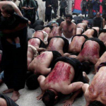 Muslims whip and cut themselves in front of their children during bloody ceremony in Greece