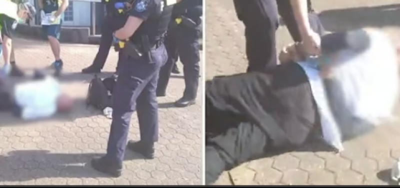 """""""OZ POLICE STATE TERROR"""" Elderly man collapses to the ground after being arrested for 'failing to wear a face mask"""